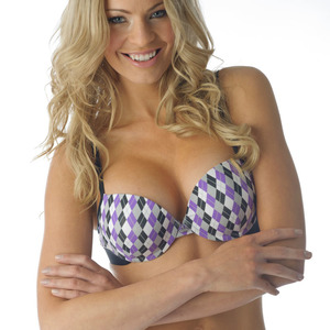 Tuffetts Push Up Bra In Purple Argyle