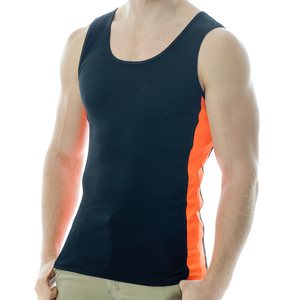Under-Vis Alpha Ribbed Singlet In Black/Orange