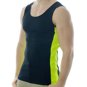 Under-Vis Alpha Ribbed Singlet In Black/Yellow