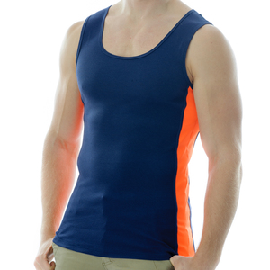 Under-Vis Alpha Ribbed Singlet In Dark Navy/Orange