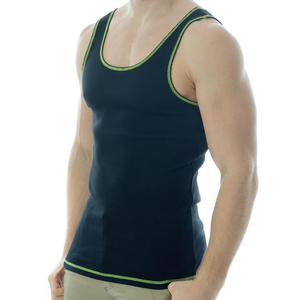 Under-Vis Macho Ribbed Singlet In Black/Yellow