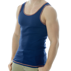 Under-Vis Macho Ribbed Singlet In Dark Navy/Orange