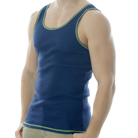 Under-Vis Macho Ribbed Singlet In Dark Navy/Yellow