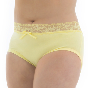 Tuffetts Lace On Hi Rise Brief In Lemon