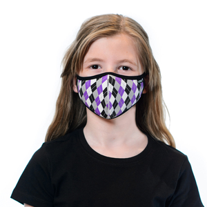 Tuffetts Kids Face Mask In Purple Argyle