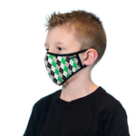 Tuffys Kids Face Mask In Green Argyle